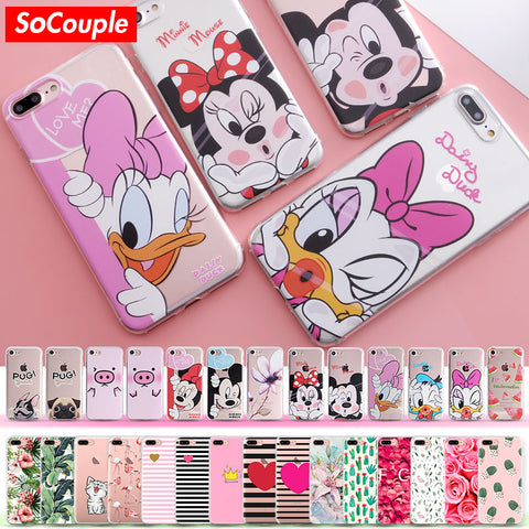 SoCouple Silicone Case for iphone 5s 5 SE 6 6s 6/7/8 plus X for iphone 7 case Flower Rose Fruit Plant Cactus pattern Phone Case