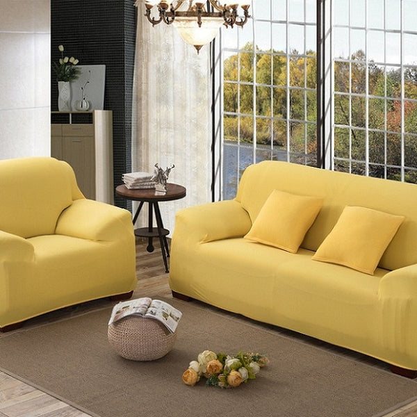Sofa Cover Stretch Fabric Elastic Corner Slipcover 1/2/3/4-Seater Loveseat Sofa Furniture Cover 1pcs Pure Color Machine Wash