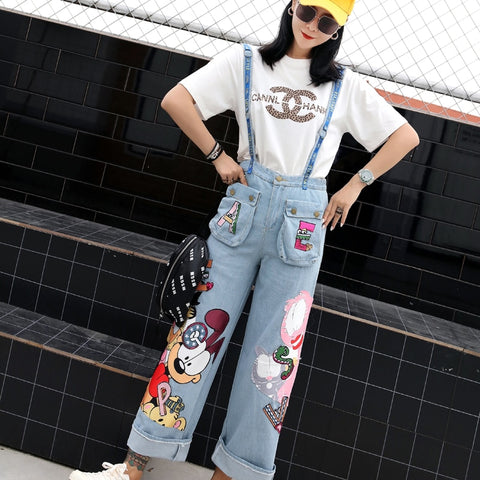 Spring and summer tide brand strange girl jeans jumpsuit bib pants trousers cartoon Garfield sequins patch pants