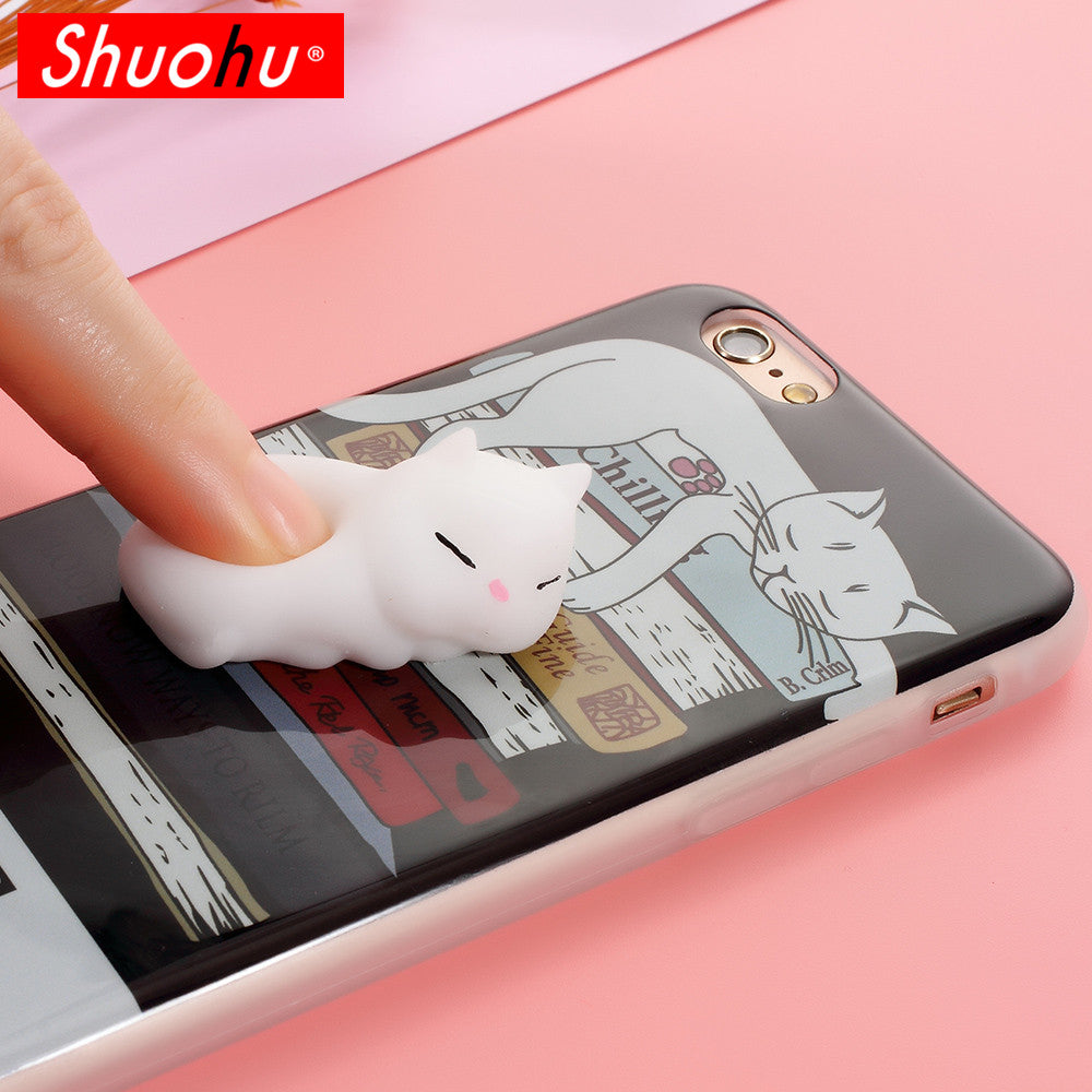 200c6a7ca2 ... Squishy Mobile Phone Cases 3D Cat Phone Cover for IPhone 7 Case 7 Plus  Case Silicone ...