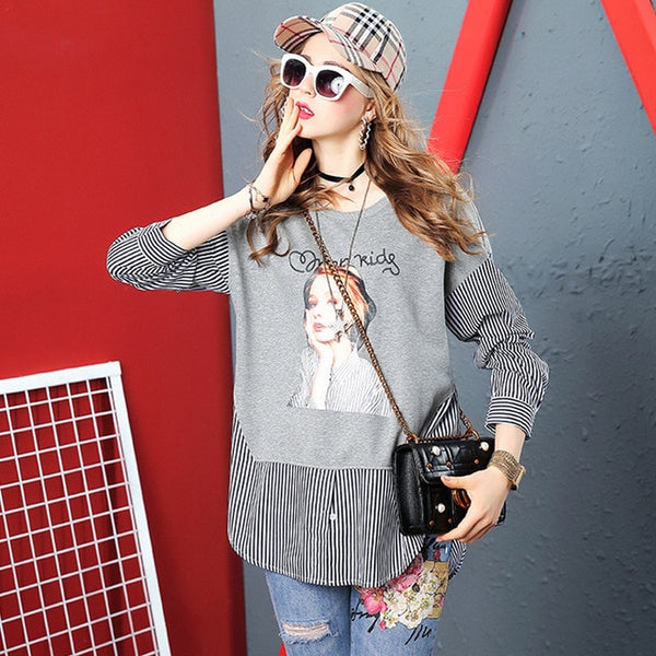Stitching sweater female 2019 autumn new AliExpress explosion models cartoon printed striped long-sleeved T-shirt tops