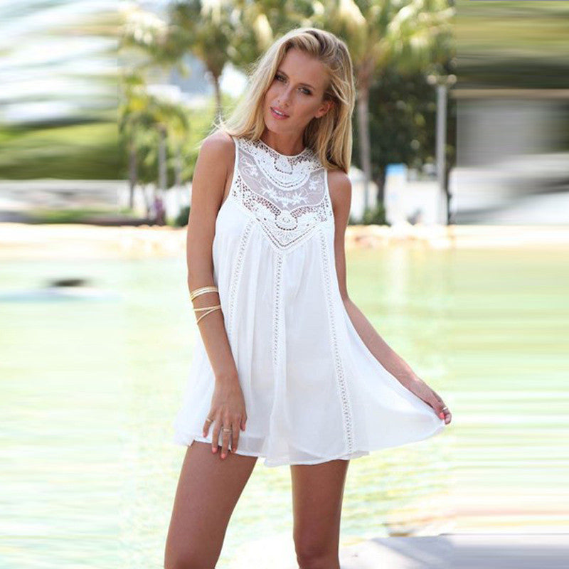df7ab6df4b8d ... Summer Dresses 2017 Mini Sleeveless Casual Lace Dresses for Woman Fit  Beach Sexy Short White Women ...