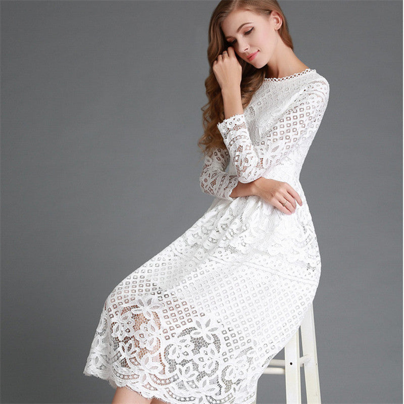 4300f3431a7a2 Summer Fashion New 2017 Hollow Out Elegant White Lace Elegant Party Dress  High Quality Women Long Sleeve Casual Dresses A868