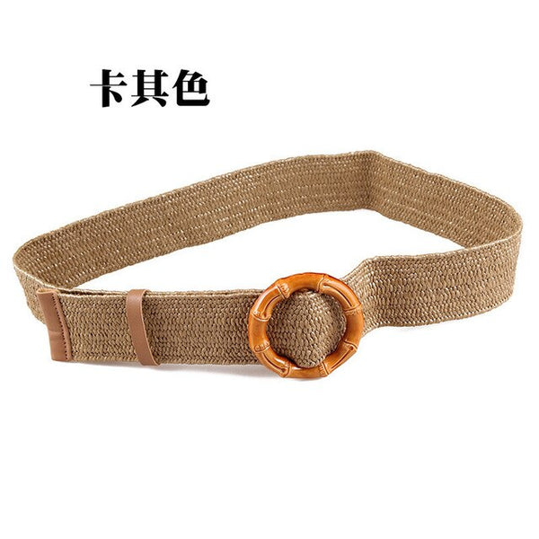 Summer Knitted Straw Belt Mori Girl O Buckles Belt Luxury Fashion 2019 Women Dress Girdle