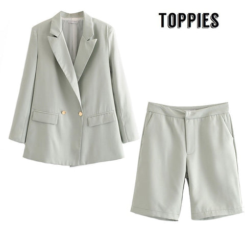 Summer Short Suit Set Double Breasted Blazer Jacket High Waist Straight Shorts Office Lady Two Piece Set