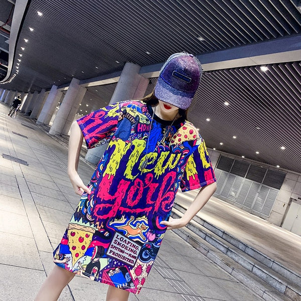 Summer women's 2019 Thailand tide brand large size female summer mesh short-sleeved T-shirt long fat mm loose quick-drying top