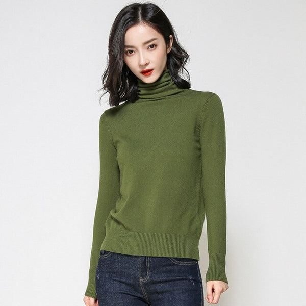 Sweater Women Knitted Pullover Sweater Lady Long Sleeve Turtlenck Jumper Winter Knitted Tops Korean Clothing Plus Size