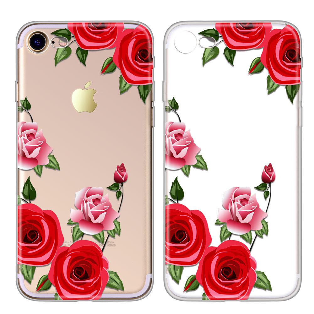 newest a4a40 f0f41 TOMKAS Flower Case For iPhone X 8 7 6 6s 5 5s SE Floral Red Rose Clear  Silicone Phone Bags Cover For iPhone 7 Plus 6 Plus Cases