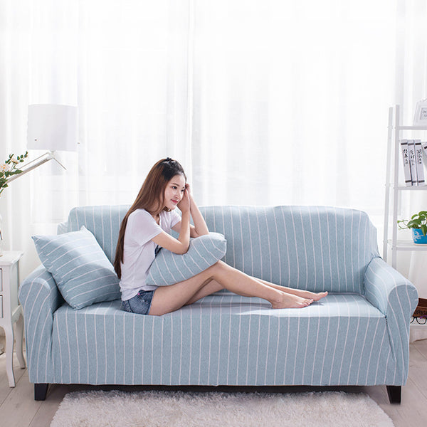 TUEDIO Striped Cotton Sofa Cover Slip-resistant Four Seasons Full Coverage Stretch Elastic Knitted Sofa Cover 1/2/3/4-seater