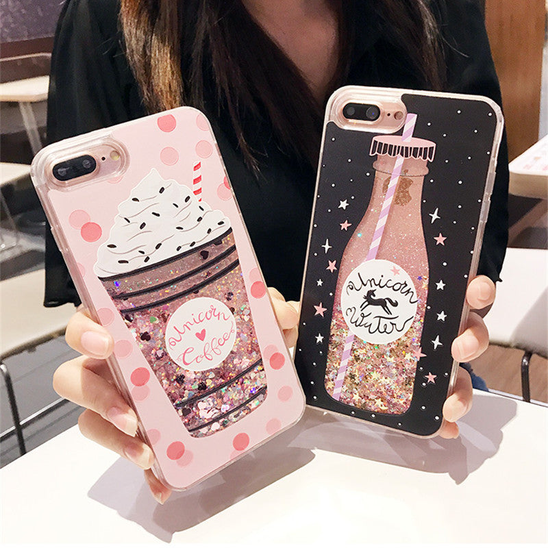pretty nice f447b be4f1 TUMI.OvO Cute Drink Bottle Ice Cream Glitter Star Dynamic Liquid Quicksand  Phone Case For iPhone 5 5S 5SE 6 6S 7 8 Plus X Cases