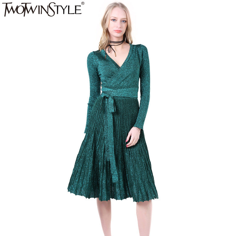42c939b08bc TWOTWINSTYLE 2017 Women Lace up Pleated Flare Midi Party Dresses Sexy V  Neck Long Sleeve Vintage ...