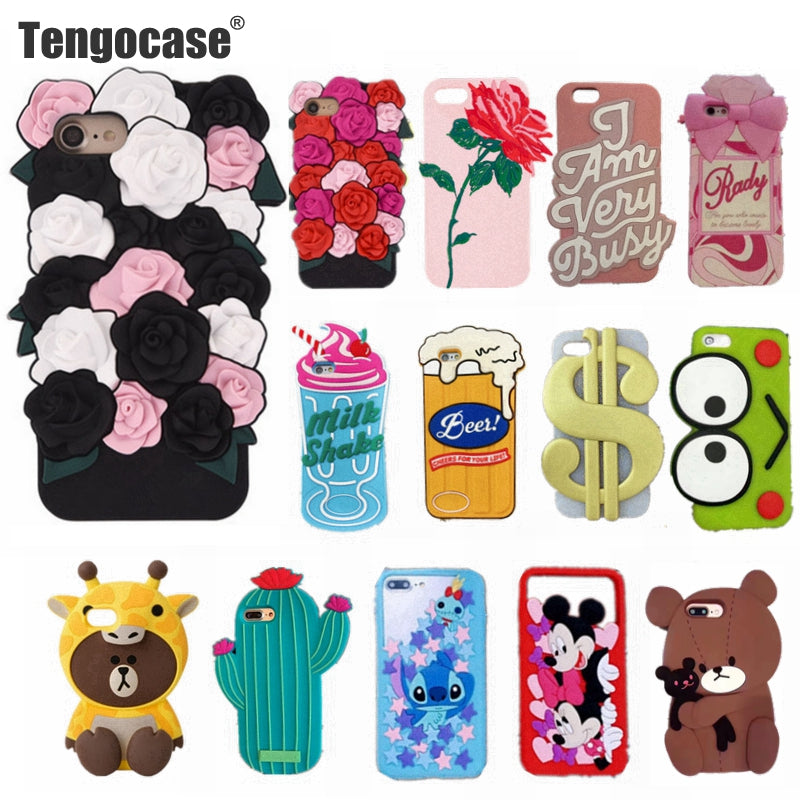 finest selection 1e1d9 97479 Tengocase rose flower soft silicone case for iPhone 7 8 plus 3d cute  cartoon bear pig rubber cover for iPhone 6 6s plus cases