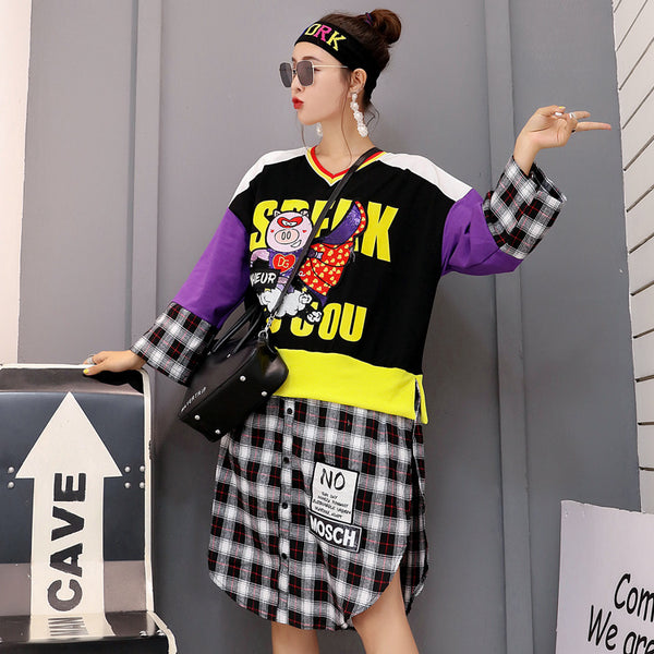 Thai Chao brand autumn new ins cartoon sequins splice plaid fake two-piece shirt open fork long-sleeved t-shirt skirt woman