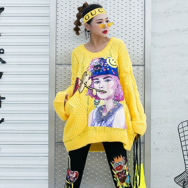 Thai street fashion cartoon head bf sweater female European station 2019 autumn new loose large size chic sweater