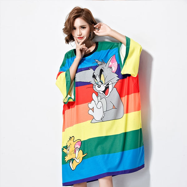 Thailand Tide brand 2018 Summer Clothing Loose Rainbow Stripe Cartoon Cat Fat MM XL Ms. Dress Sister Summer clothes