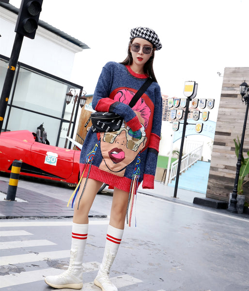 Thailand Tide brand 2018 autumn and winter new cartoon printing stickers girl sweater round neck loose large size sweater women