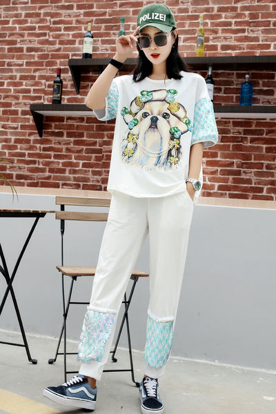 Thailand Tide brand 2019 summer personality sequins dog print T-shirt female beaded cartoon stitching trousers two-piece