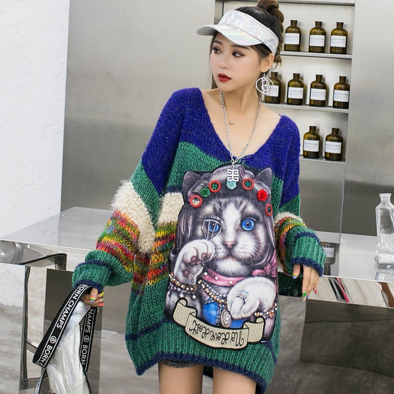 Thailand street brand age-old V-neck cartoon patch heavy work beaded thin sweater women early autumn loose net red sweater