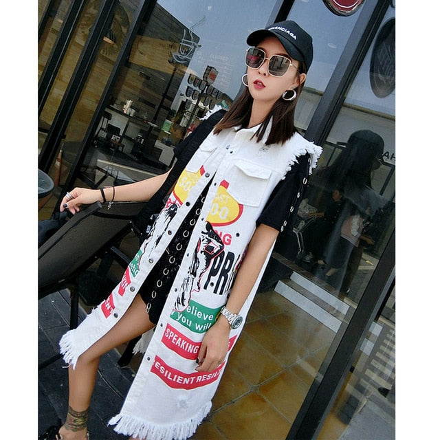 Thailand tide brand 2019 spring and autumn new thin cowboy waistcoat women's vest