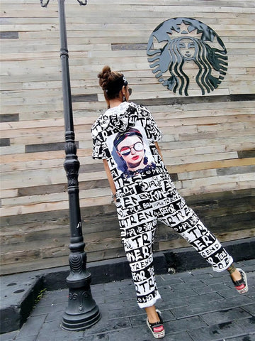 Tide brand 2018 summer new big pants pants jumpsuit Hong Kong flavor letter printing loose large size casual pants pants
