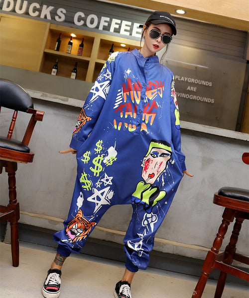 Tide brand autumn new hip hop trousers funny jumpsuit explosion cartoon loose pants hooded bib pants women's clothing