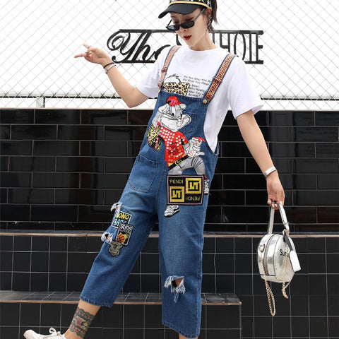 Tide brand women's 201 summer personality loose slimming jumpsuit sequins hole wash water strap jeans women