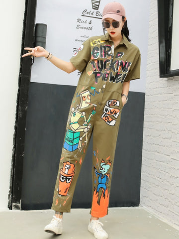Tooling jumpsuit female 2019 summer cartoon chic graffiti printing short-sleeved jumpsuit tide brand casual wide-leg trousers