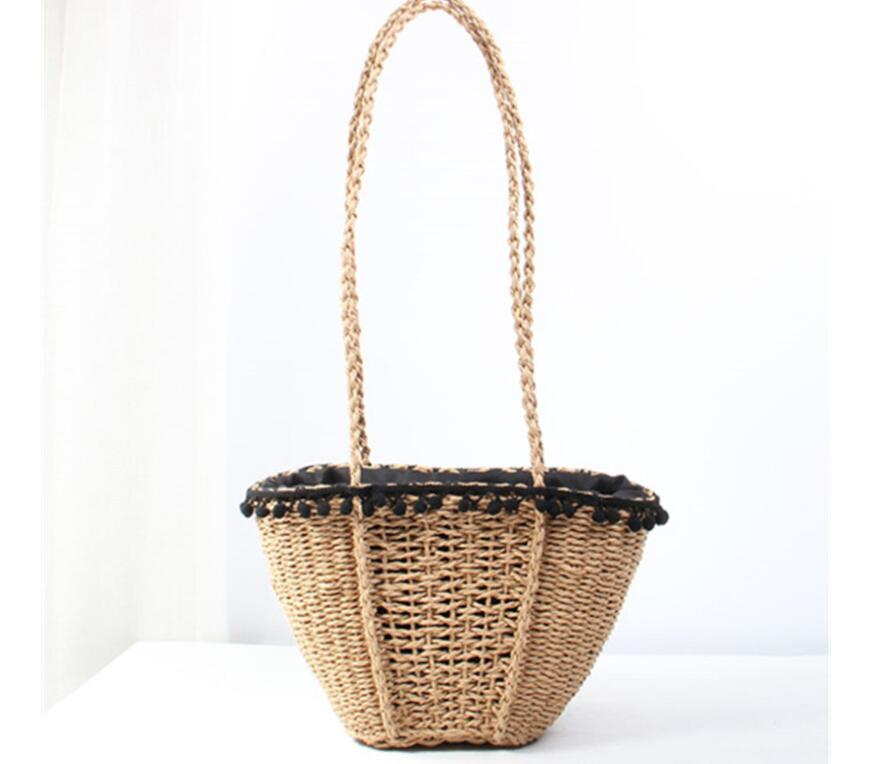 Toppies Women 2019 Summer Women Bohemian Holiday Straw Bags Black Pom Pom Straw Handbags
