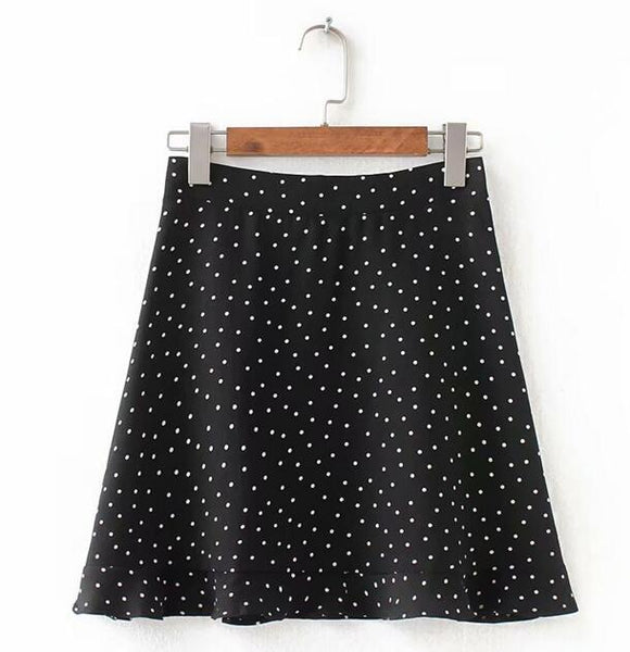 Toppies Women Dots Skirt Green White Saia High Waistline Faldas Mini Skirts