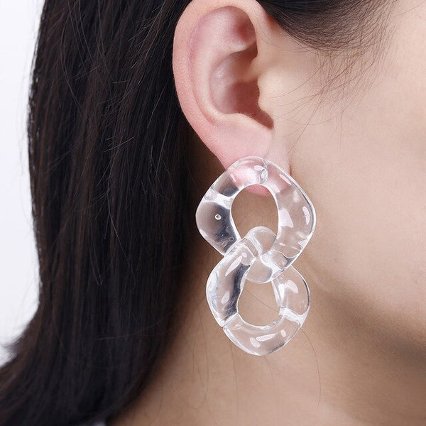 Transparent  Acrylic Chain Earrings Ladies Statement Earrings Geometric Design Drop Earring