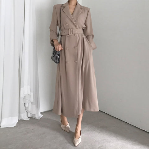 Trench Coat Women Jacket Windbreaker Double Breasted Long Coat Blazer Style Ladies Coat Autumn Women Clothes