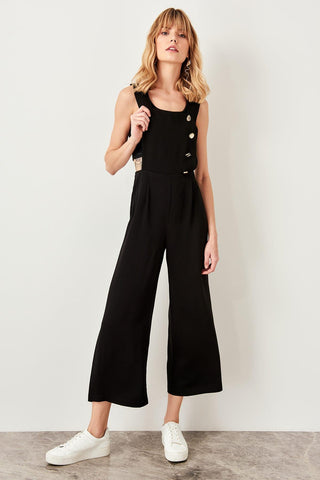Trendyol Black Button Detail Jumpsuit TWOSS19LJ0356