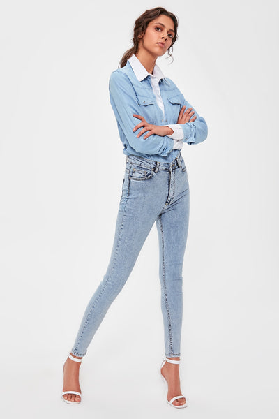 Trendyol Blue-Flushing High Waist Skinny Jeans TWOAW20JE0256