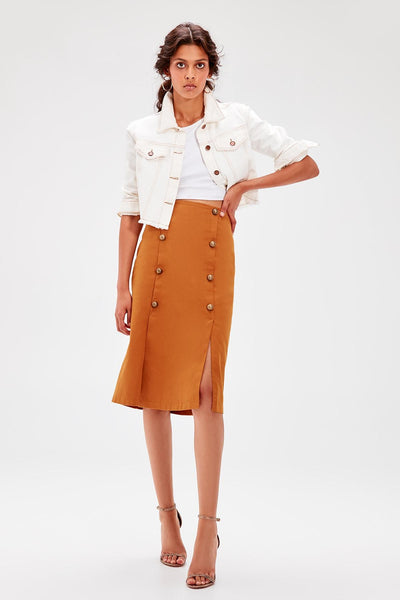 Trendyol Cinnamon Button Detail Skirt TWOAW20ET0099