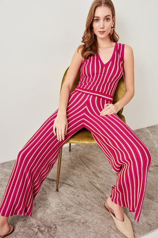 Trendyol Fuchsia Blue Striped V Neck Sweater Jumpsuits TWOSS19DU0081