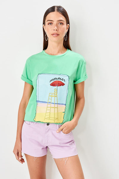 Trendyol Green Printed Basic Knitted T-Shirts TWOSS19TS0379