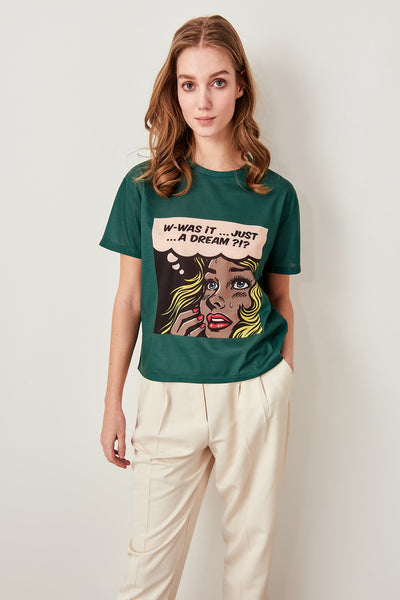 Trendyol Green Printed Semi-Fitted Knitted T-shirts TWOSS19VG0125