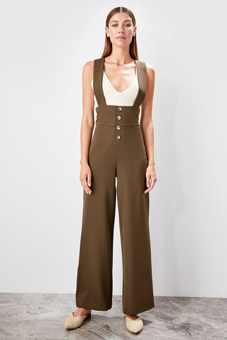 Trendyol Haki Button Detail Jumpsuit TCLAW19LJ0017