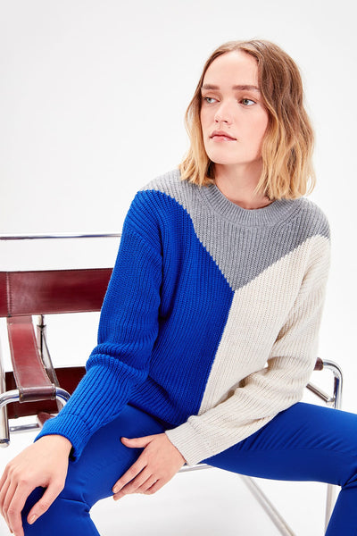 Trendyol Saks With Color Block Sweater Pullover TWOAW20FH0023