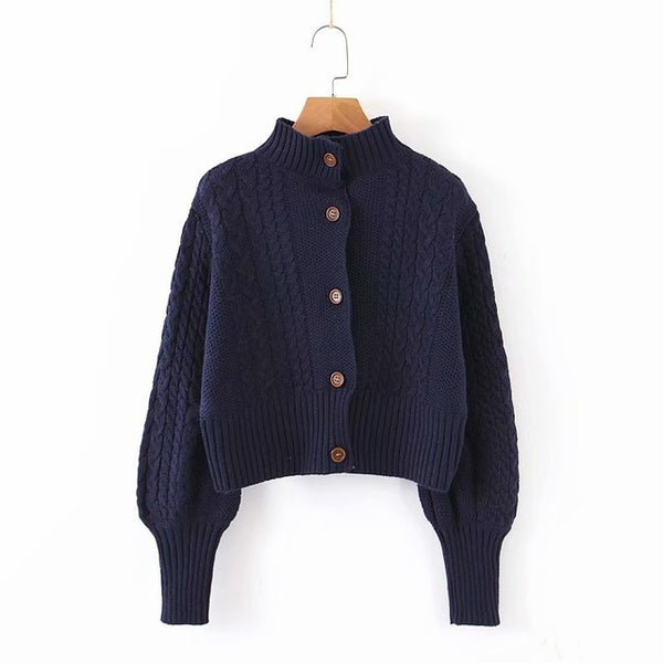 Turtleneck Knitting Cardigan Jacket Women Lantern Sleeve Sweater Fall 2019 Single Breasted Cardigan Winter Women Clothes