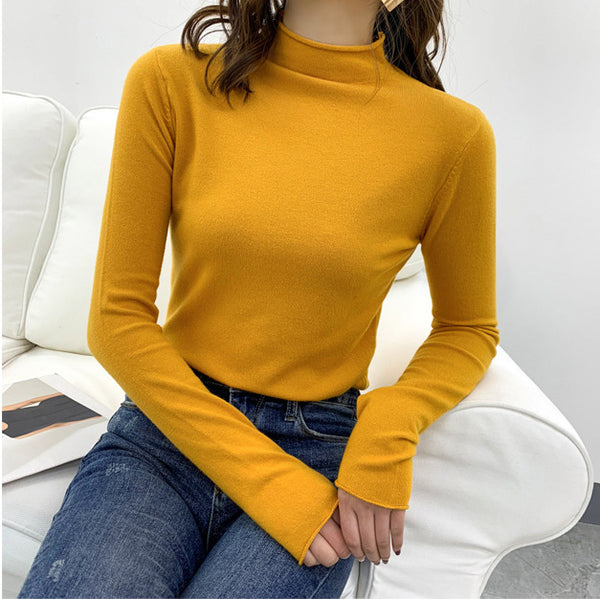 Turtleneck Pullover Sweater 2019 Winter Knitted Sweater Women Long Sleeve Jumpers Female Basic Tops Candy Color