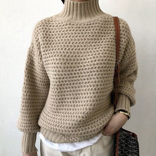 Turtleneck Sweater Women Winter Loose Oversized Sweaters Lady Knitted Tops Solid Color Lantern Sleeve Pullovers