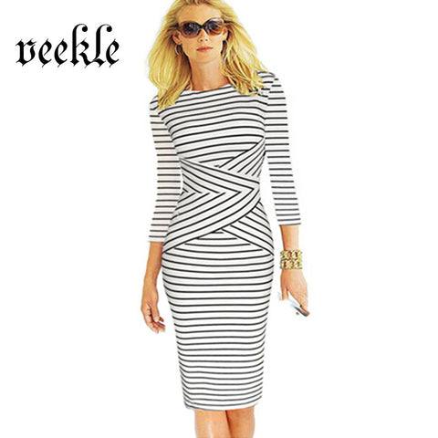 VEEKLE Women Office Striped Wear To Work Business Bodycon 3/4 Sleeve Summer Elegant Sheath Green Red Black White Pencil Dresses