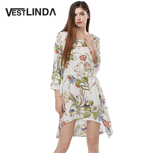 VESTLINDA Allover Print Loose Mini Dress Round Collar Long Sleeve Straight Summer Sun Dresses Women Vestidos Casual Short Dress