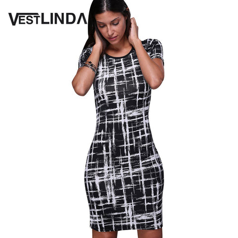 Sale VESTLINDA Summer Office Pencil Midi Dress Short Sleeve Print Bodycon Dress  Women Tunic Elegant Vestidos Sheath fbfe2d6a67e3