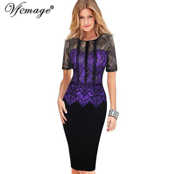 Vfemage Womens Elegant Vintage Lace Peplum See Through Sleeve Casual Party Special Occasion Sheath Fitted Bodycon Dress 4285