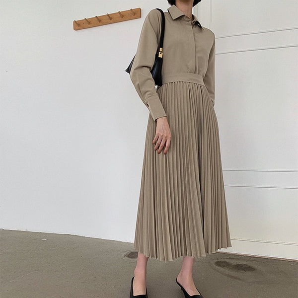 Vintage Long Shirt Dress Ladies Elegant Pleated Dress 2019 Autumn Long Sleeve Spliced Fake Two Piece High Quality Women Clothes