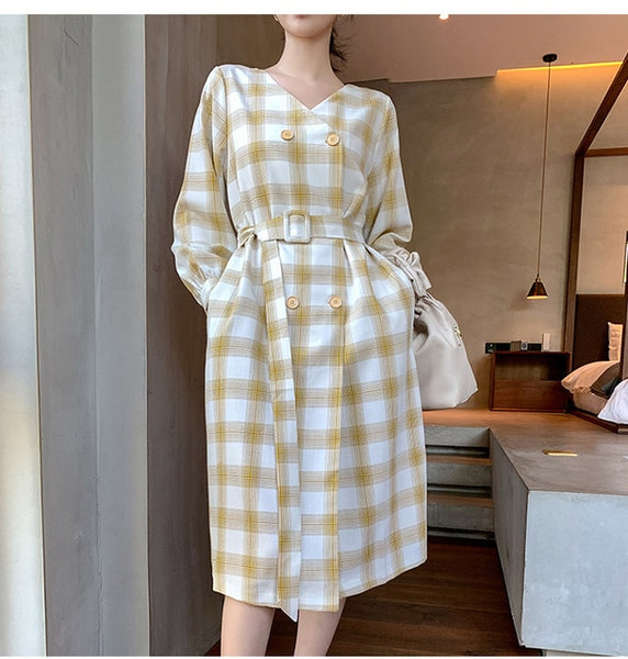 Vintage Plaid Midi Dress Women Belt Waist Double Breasted Shirt Dress V Neck Fall 2019 Women Clothes Long Sleeve