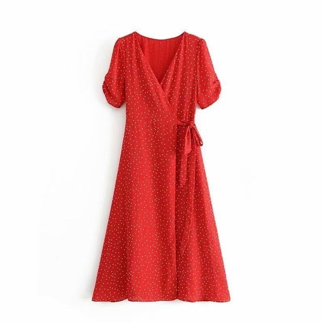 Vintage Polka Dot Red Midi Dress 2019 Summer Sexy V Neck Vacation Wrapped Dress Lace-up Waist Vestidos