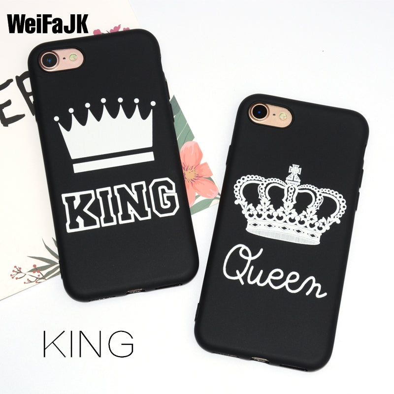 huge discount 3cf68 6be9a WeiFaJK KING Queen Matte Soft Phone Case for iPhone 6 Case for iPhone 5s 5  6s Plus Cover TPU Black Cover for iPhone 7 Plus Coque